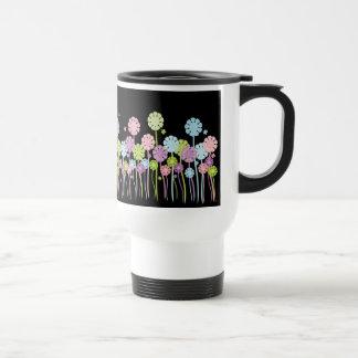 Pastel flower garden black & white travel mug