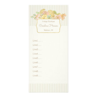 Pastel Flowers Rack Card with Faux Gold Effect