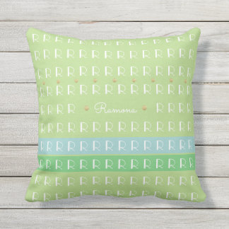 pastel green with custom name and initial nice outdoor cushion