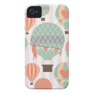 Pastel Hot Air Balloons Rising Pink Striped Sky iPhone 4 Cases