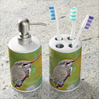 Pastel Hummingbird Bathroom Set