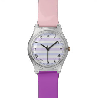 Pastel Lilac, Blue and White Stripes Watch