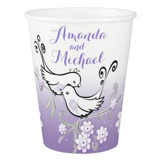 Pastel lovebirds wedding custom paper cup