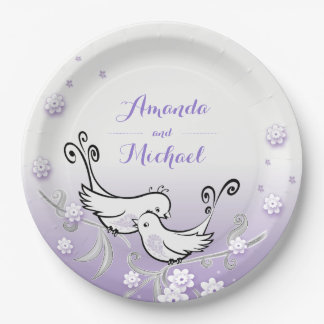 Pastel lovebirds wedding custom plate 9 inch 9 inch paper plate