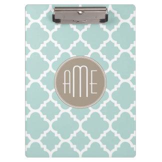 Pastel Mint and Tan Quatrefoil Pattern Monogram Clipboards