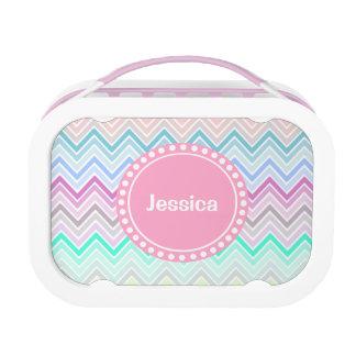 Pastel Multi Color Chevron Personalized Lunch Box