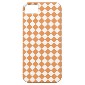Pastel Orange and White Diamond Check pattern iPhone 5 Cases