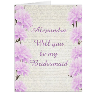 Pastel pale lilac floral will you be my bridesmaid big greeting card