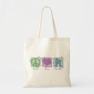 Pastel Peace, Love, and Poodles Budget Tote Bag