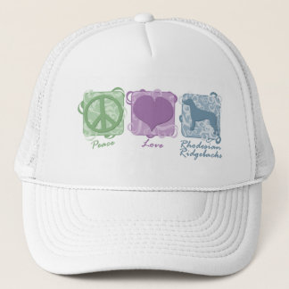 Pastel Peace, Love, and Rhodesian Ridgebacks Trucker Hat