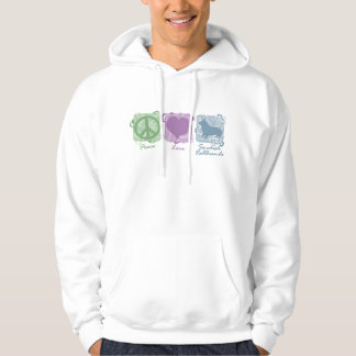 Pastel Peace, Love, and Swedish Vallhunds Hoodie