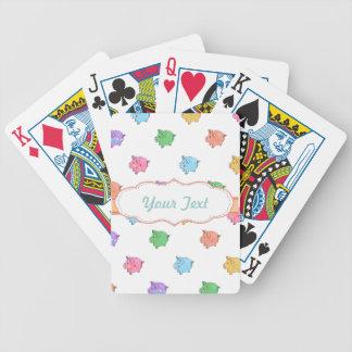 Pastel Pig Pattern Bicycle Playing Cards