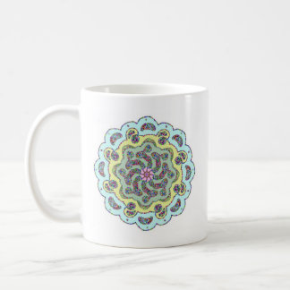Pastel Pink Flower Symmetrical Design Coffee Mug