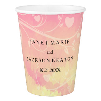 Pastel Pink & Pale Yellow Watercolor Love Paper Cup