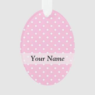 Pastel pink polka dot pattern ornament