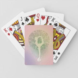 Pastel Pink Rainbow Yoga Tree Playing Cards
