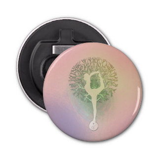 Pastel Pink Rainbow Yoga Tree Button Bottle Opener