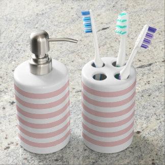 Pastel Pink Stripe Bath Set
