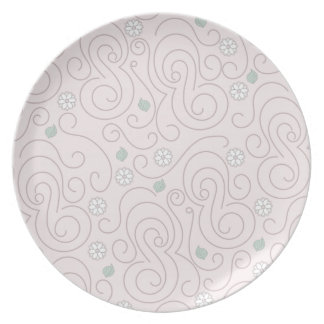 Pastel Pink with Flowers, Leaves and Swirls Plate