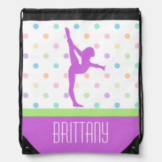 Pastel Polka-Dots Gymnastics in Lavender Drawstring Bag