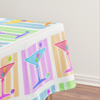 PASTEL POP ART MARTINIS TABLECLOTH