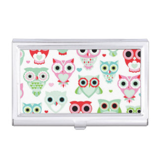 pastel powder color owl background business card holder