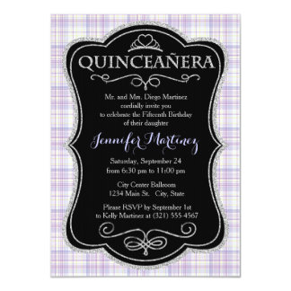 Pastel Purple, Yellow, White Plaid Personalized Invitation