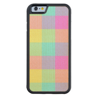 Pastel Rainbow Checkered Carved Maple iPhone 6 Bumper Case