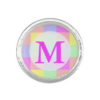 Pastel Rainbow Checkered Monogram