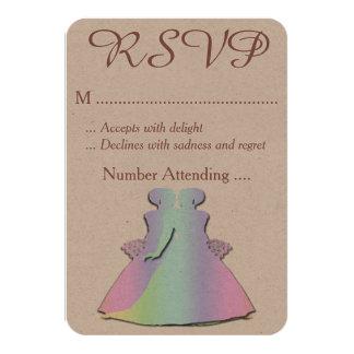 Pastel Rainbow Lesbian RSVP for a Gay Wedding Card