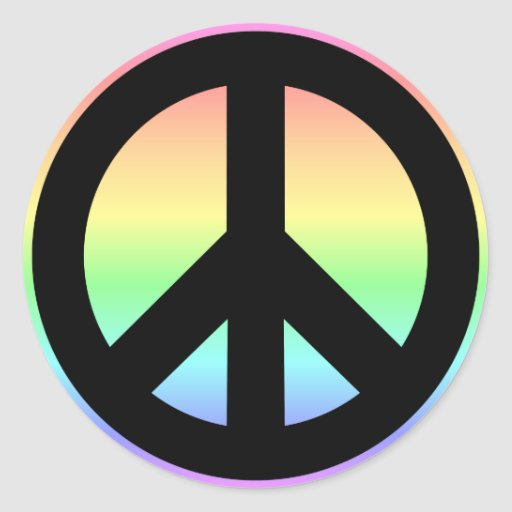 Pastel Rainbow Peace Sign Round Stickers
