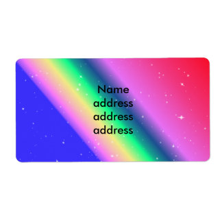 Pastel rainbow shipping shipping label