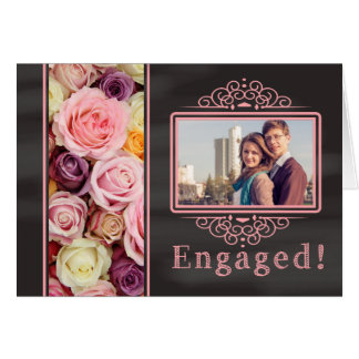 pastel roses photo engagement announcement