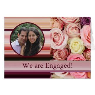 pastel roses photo engagement announcement