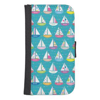 Pastel Sailboat Pattern Samsung S4 Wallet Case