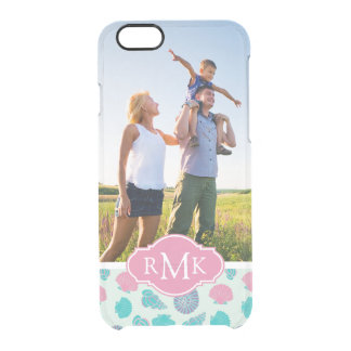 Pastel Seashell Pattern | Your Photo & Monogram Clear iPhone 6/6S Case