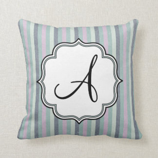 Pastel Stripes Monogram Cushion