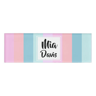 Pastel Stripes Name Tag