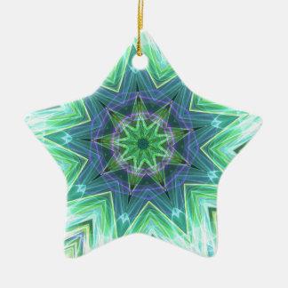 Pastel Teal Blue Star Shaped Mandela Christmas Ornament