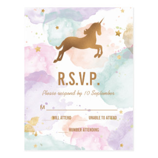 Pastel Unicorn Birthday Party RSVP Postcard