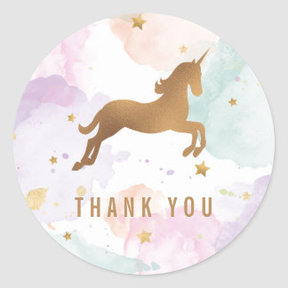 Pastel Unicorn Birthday Party Thank You Classic Round Sticker