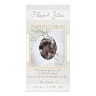 Pastel Vintage Flowers Sympathy Thank you Personalized Photo Card