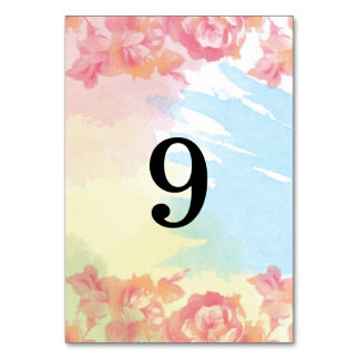 Pastel Watercolor Bouquet Table Numbers Table Card