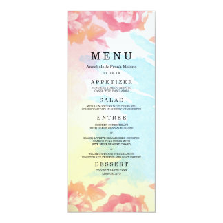 Pastel Watercolor Bouquet Wedding Menu Card 10 Cm X 24 Cm Invitation Card