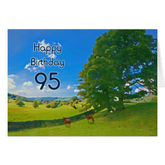 Pastoral landscape painting 95th Birthday card