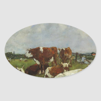 Pasturage on the Banks of the Touques by Eugene Bo Oval Sticker