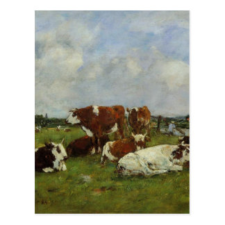 Pasturage on the Banks of the Touques by Eugene Bo Postcard