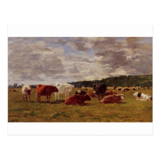 Pasture at Deauville by Eugene Boudin Postcard