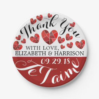 Patchwork Heart Je T'aime Wedding Paper Plate
