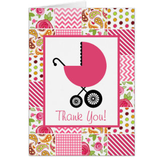 Patchwork & Pink Carriage Baby Shower Thank You Cards